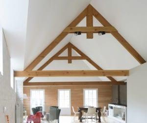 hoog spanplafond spanlux woonkamer balk en nok afwerking